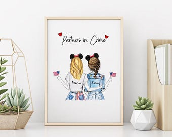 Personalized Unique Best Friends Wall Art - Partners in Crime