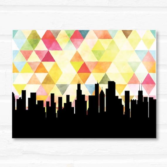 Chicago skyline wall art Chicago skyline art geometric