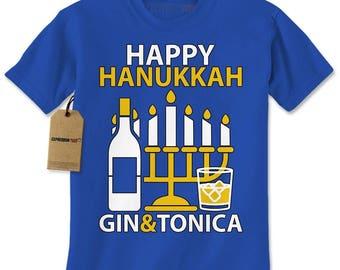 Happy Hanukkah Gin and Tonica Mens T-shirt