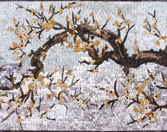 Autumn Tree Trunk Mosaic