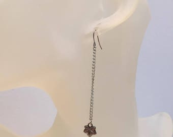 Leaf charm earrings on chain