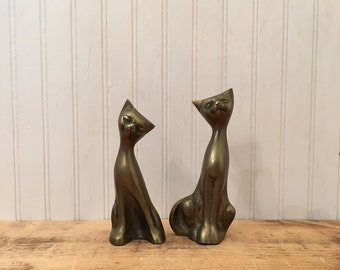 Vintage brass cat figurine Midcentury decor set of 2 brass kitty cats