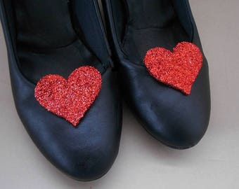 shoes clips  red hearts