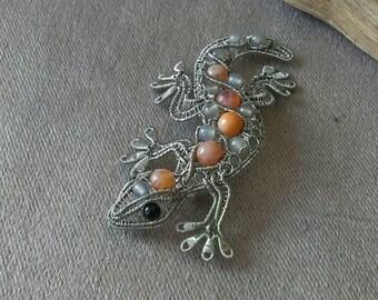 Wire wrap lizard gecko brooch-pendant