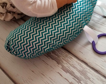 Organic Tummy Time Pillow, Metallic Teal Chevrons
