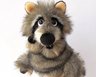 Baby raccoon. For a small hand. Bibabo. Puppet. Toy on hand. Marionette. Toy glove. Puppet theatre.