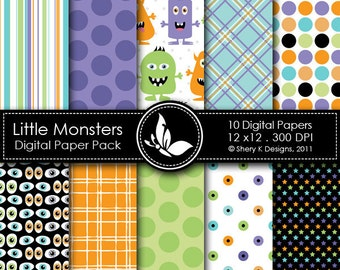 Little Monsters Paper Pack - 10 Printable Digital papers - 12 x12 - 300 DPI