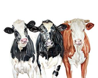 Farm Cows Watercolor Print / Cow Watercolor Art Print / Farmhouse Art / Cow Art / Watercolor Cow Painting / 3 Cows / Farmhouse Cows