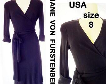 Vintage DIANE von FURSTENBERG Dress Black Rayon Jersey Wrap-Around Made in USA Sz 8