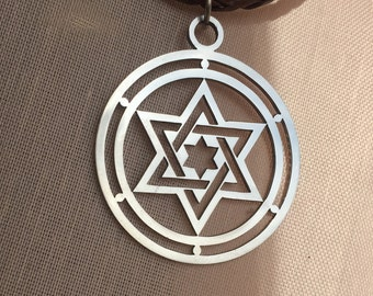 Magen David,  Star of David,  Jewish Star, Stainless Steel pendant, Judaica Medallion, Stainless Steel Magen, Jewish jewelry.  David