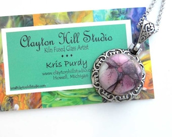 PenDot Medallion Necklace - fused glass