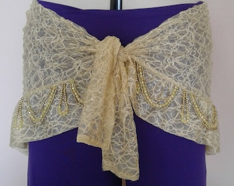 yellow lace belly dance hip scarf