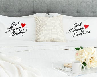 Good Morning Beautiful & Good Morning Handsome Standard/Queen Size Pillowcase Set