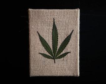 "Cannabis Leaf on Burlap Canvas (5"" x 7"")"