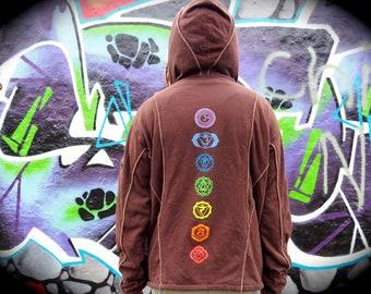 CHAKRA Hoodie - Mens Jacket, Psy Hoodie, Festival Hoodie, Hippie Jacket, Psytrance Top, Festival Clothing, EDM Rave Wear, Hippie Hoodie