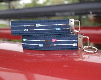 Crew Key Chain / Oar Keychain / Rowing Keychain / Rowing Key Fob  / Rowing / Crew Rowing / Rowing Oar / Woven Ribbon / Boys in the Boat