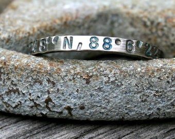 Personalized Sterling Silver Ring - Latitude and Longitude - Custom Coordinates GPS
