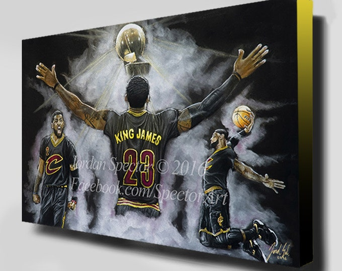 Cleveland Cavaliers - Lebron James - Canvas Print - 2016 NBA Champions - Wall Art - Man Cave - Cavaliers - Cavaliers Painting - King James