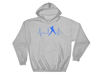 Softball Mom Hoodie - Womens Softball Hoodie - Softball Mom Gear - Blue Softball Heartbeat - Softball Player Gift - Cute Softball Sweatshirt