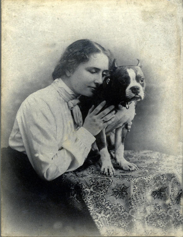 Vintage Boston Terrier With Helen Keller Print Decoupaged On