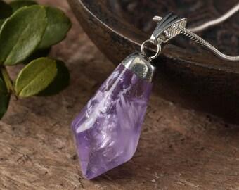 Polished Freeform AMETHYST Pendant - Amethyst Jewelry, Raw Amethyst Crystal Point, Crystal Pendant, Polished Amethyst Necklace E0304