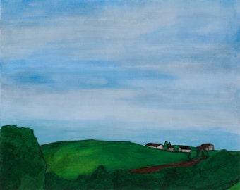 Cluster: original framed fine art landscape, 24 x 30 inch, American landscape, Ohio, field, meadow, rolling hill, peaceful landscape, quiet