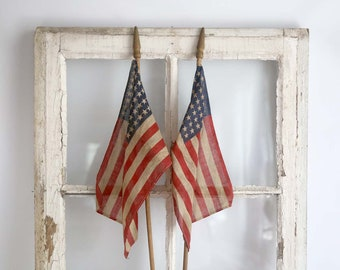 Vintage 48 Star American Flags, Antique Parade Flags, American Flags on Dowel Stick, Antique Small American Flags, Patriotic Home Decor