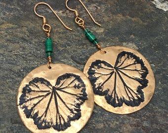 Bronze Geranium Leaf Print Earrings with Malachite Gemstone