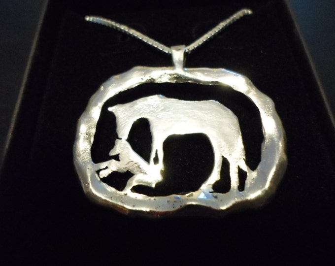 """Large 26mm- 34mm melted Horse and Foal w/20"""" sterling silver chain"""