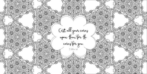 Adult Coloring Pages Book Bible Journaling Color Verses For Adults Cast Your Cares