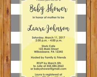 Baby Shower Invitation Pastel Yellow Grey  White Stripes Preppy Gender Neutral Printable Shower Birthday Invite 5x7 Digital JPG File (597)