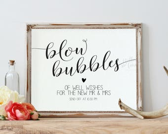Blow Bubbles Wedding Sign Template, Wedding Sign Printable, Bubbles Sign, Instant Download Editable PDF, WLP600