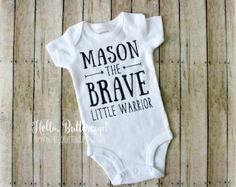 Personalized Brave Little Warrior bodysuit, Boys take home outfit, Name reveal bodysuit, Gender reveal, Coming Home outfit, Newborn bodysuit