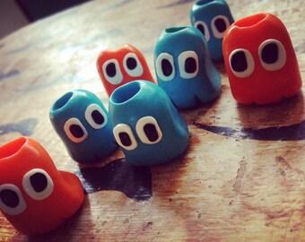 Pacman ghost- dread beads