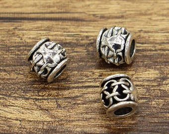 20pcs Barrel Beads with 3.5-4mm hole Large European Bead Spacers Antique Silver Tone Beads 10x10x9mm cf2281
