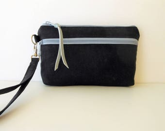 Wristlet Black Waxed Canvas Wristlet Wallet iPhone 7 Plus Otterbox with Light Gray Double Zippers.