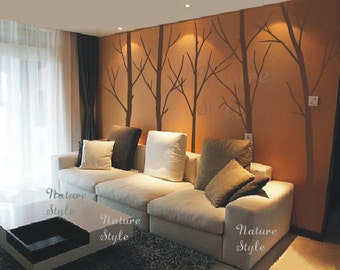 Tree Wall Decal Winter trees nature forest wall decals art wall decor nursery wall sticker living room wall mural-Five Winter Trees