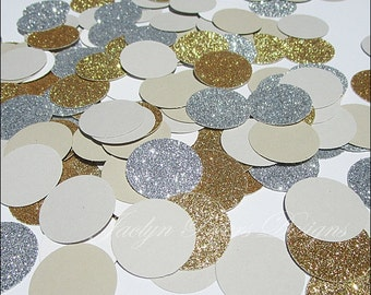 Gold & Silver Glitter Party Confetti, Grey, Latte, Modern Metallic Wedding Decor, Bridal Shower, Birthday Scatter, Dessert Buffet, 200 Piece