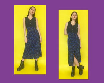 Vintage 90s Y2k 2000s Blue Corduroy and Floral Sleeveless Button Down Long Maxi Dress
