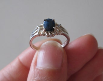 925 Sterling silver Sapphire Gemstone ring, size 7