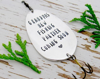 Grandpas new fishing partner coming soon - birth announcement - fishing lure - due date - pregnancy - new baby - fish hook - stamped spoon