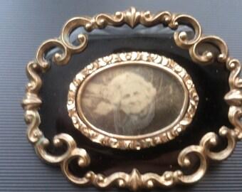 large vintage mourning brooch