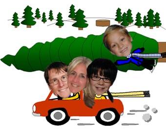 Funny Family Photo Christmas Card Christmas Tree Car - Digital Printable Fun Unique