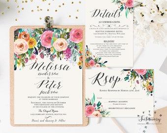 Floral Wedding Invitation Printable Watercolor Wedding Invitation Kit (Printing Service Sold Separately) No.1811WEDDING
