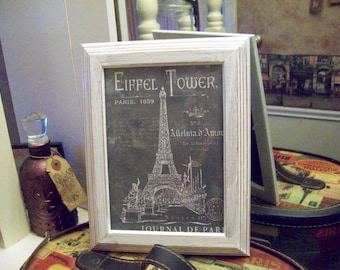 SHABBY chic 5x7 chalkboard look Eiffel Tower frame, PARIS bedroom decor, wall decor, FRENCH bedroom,Shabby chic, Paris wall decor