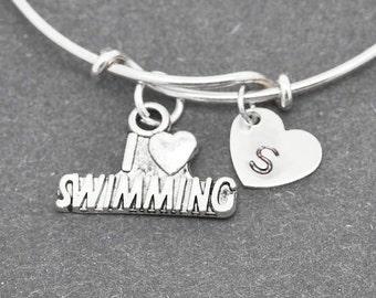 Swimming Bangle, Sterling Silver Bangle, Swimming Bracelet, Bridesmaid Gift, Personalized Bracelet, Initial Bracelet, Bridesmaid Gift
