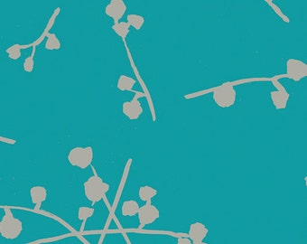 Modern Floral Teal Fabric - Imprint by Katarina Roccella for Art Gallery - Buttonballs Laguna - Fabric By the Half Yard