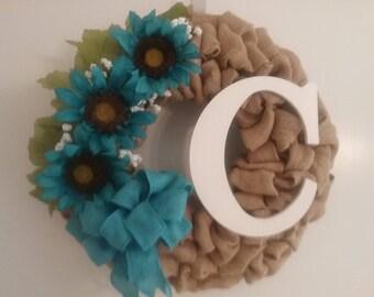 Daisy burlap intial wreath