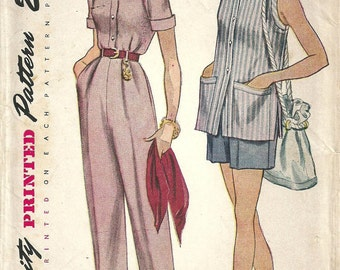 Simplicity 3223 / Vintage 50s Sewing Pattern / Pants Trousers Shorts Blouse Overblouse / Size 16 Bust 34