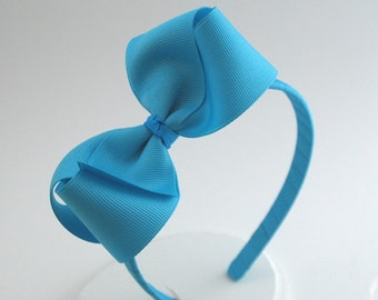 Turquoise Blue Girls & Adults Bow Headband, Bow on Hard Headband, Everyday Headband, Little Girl Headband, Big Girl Headband, Back to School